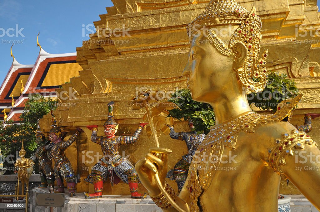 Many of statues and figurines at Wat Phra Kaew, Bangkok stock photo
