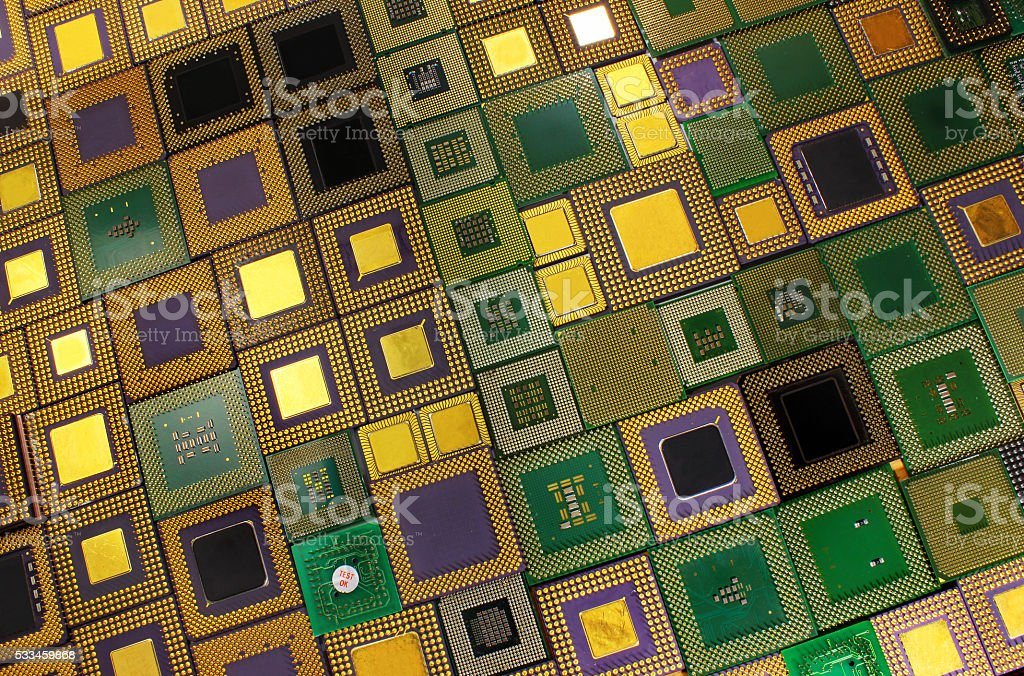 Many old CPU chips and obsolete computer processors stock photo