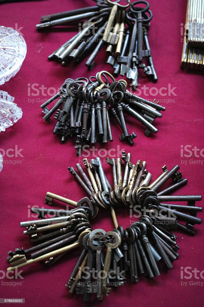 Many Old Used Keys On The Counter Waiting For Customers stock photo