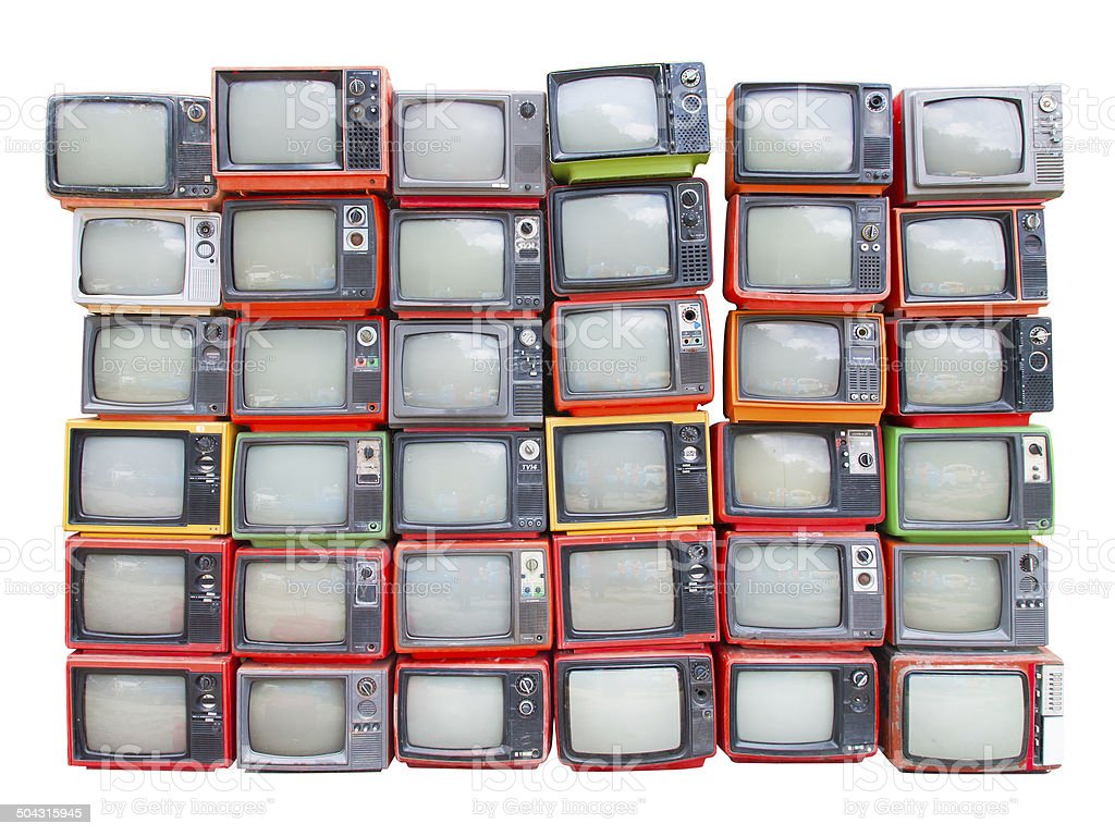 Many old vintage televisions isolated on white with clipping path stock photo