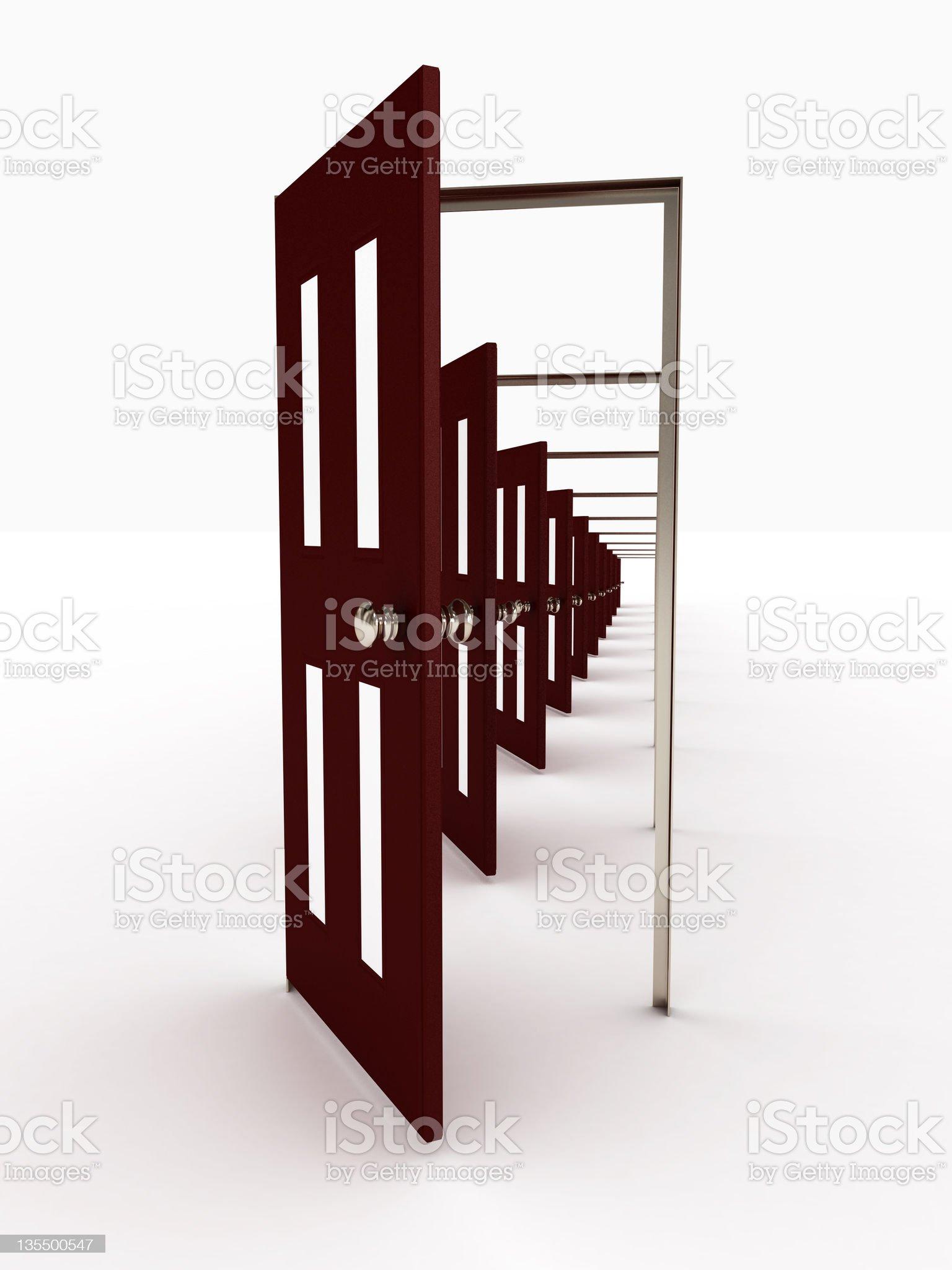 Many open doors isolated on white background. 3D image royalty-free stock photo