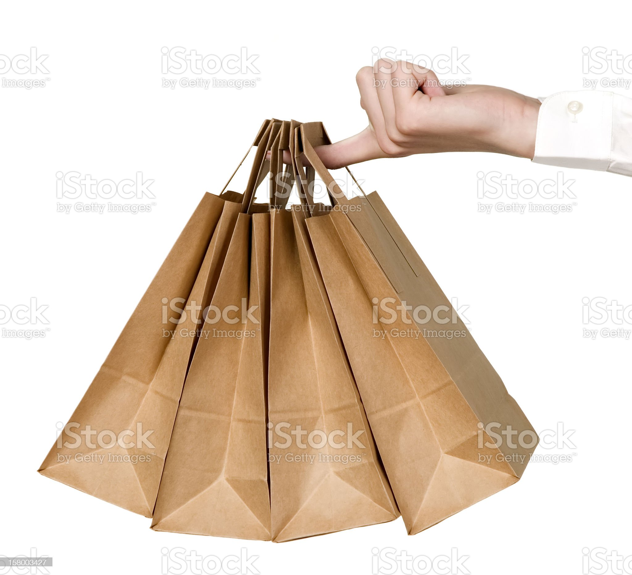 Many organic green paper bags royalty-free stock photo