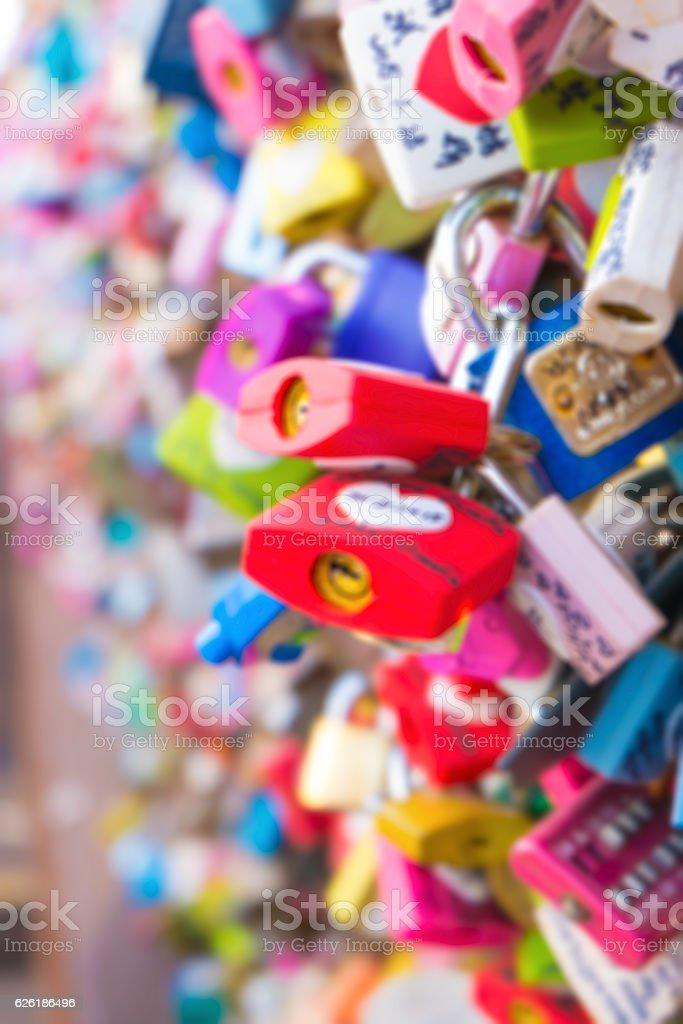 Many Padlocks of love at N Seoul tower,Seoul stock photo