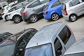 Many parked cars
