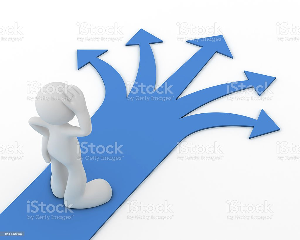 Many paths and not sure which way to turn royalty-free stock photo
