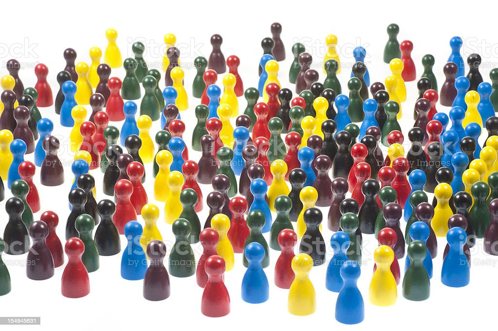 many pawn in a game on white background royalty-free stock photo