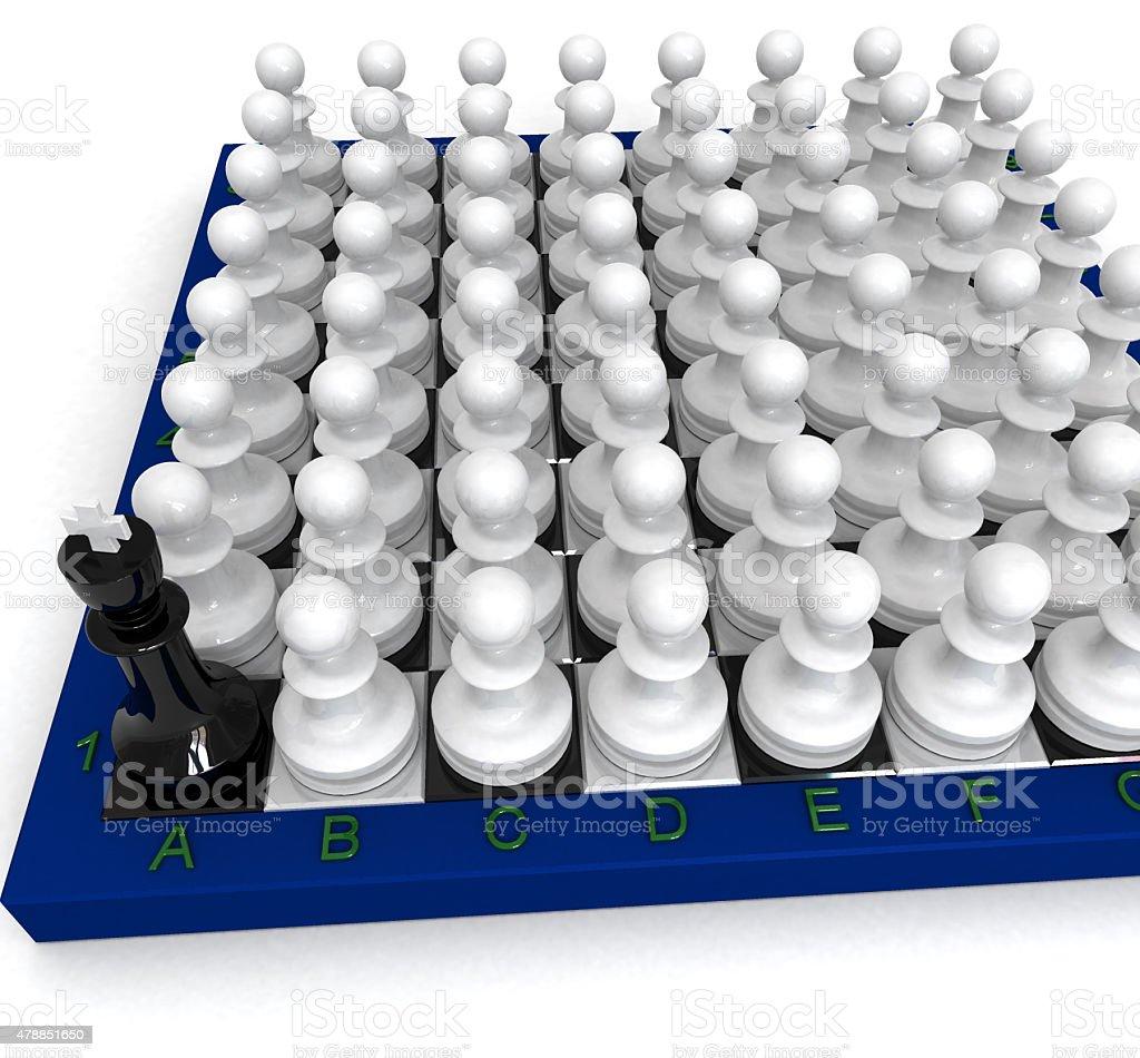 many pawns versus king stock photo