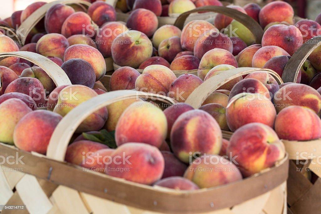 Many Peaches At Farmers Market stock photo