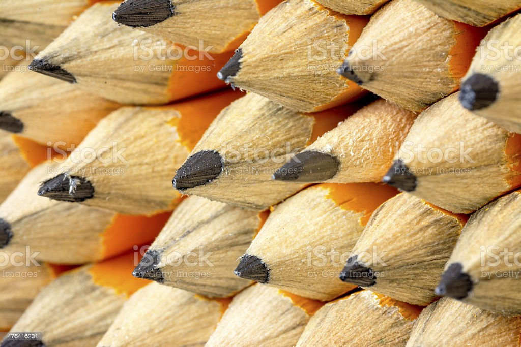 Many pencils close up sharpened and ready for use royalty-free stock photo