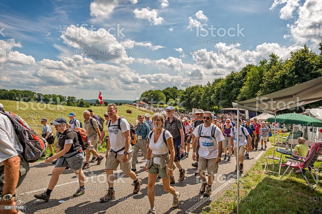 Many people are marching in the Four Days Marches Nijmegen stock photo