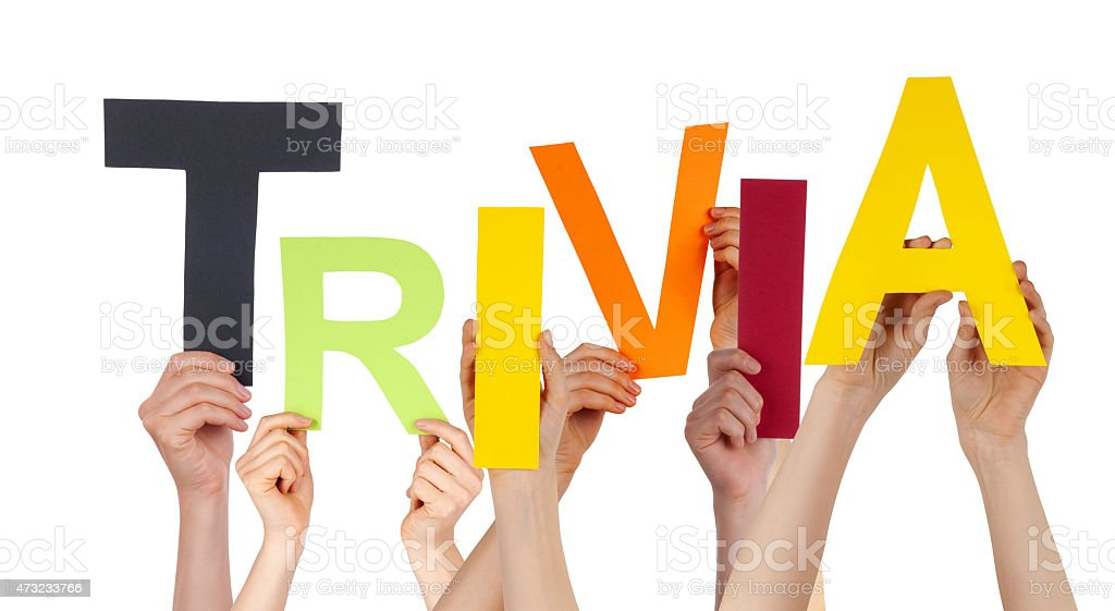 Many People Hands Holding Colorful Word Trivia stock photo