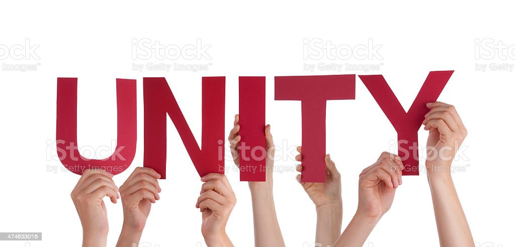 Many People Hands Holding Red Straight Word Unity stock photo