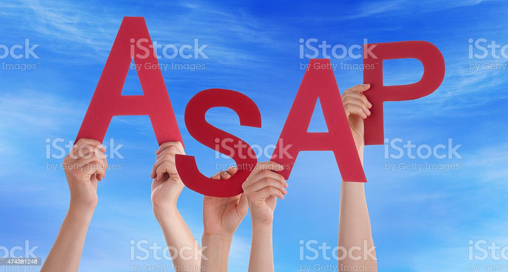 Many People Hands Holding Red Word Asap Blue Sky stock photo