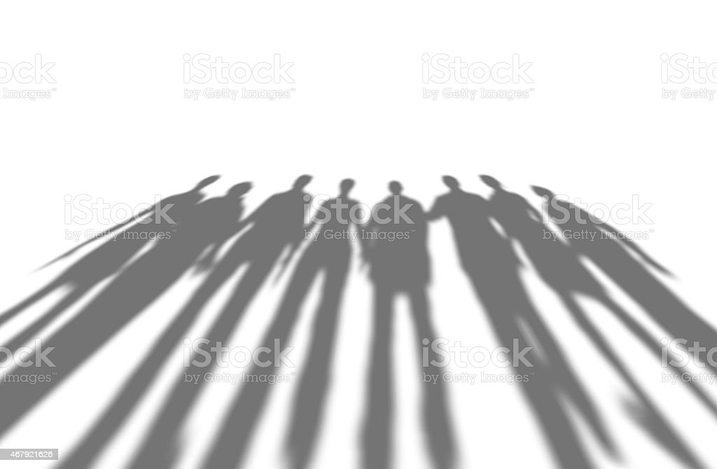 Many people long shadows, isolated on white. stock photo
