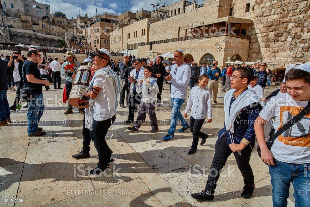 Many people participate Bar Mitzva celebration at old Jerusalem stock photo
