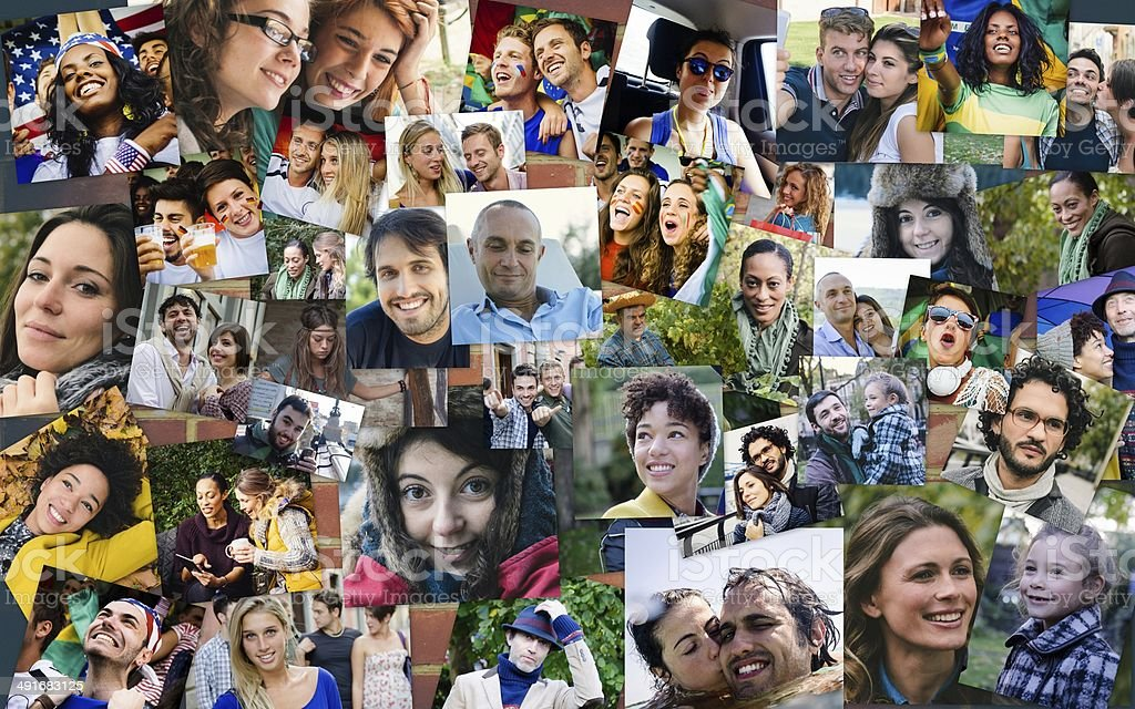 Many people portrait stock photo