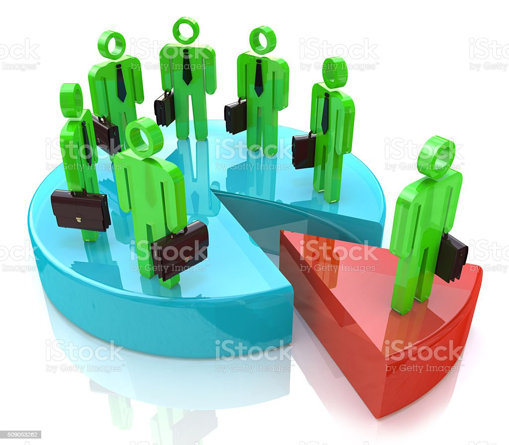 Many people standing on pie chart conceptual 3d illustration stock photo