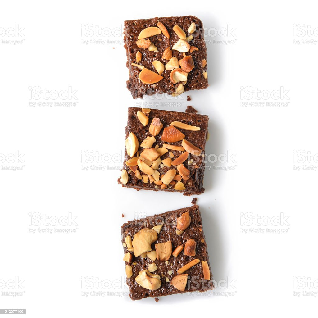Many pieces of brownie - isolated stock photo