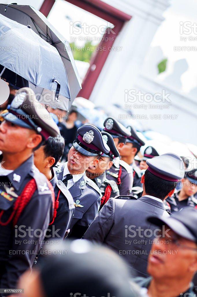 Many policemen near entrance of Grand Palace stock photo