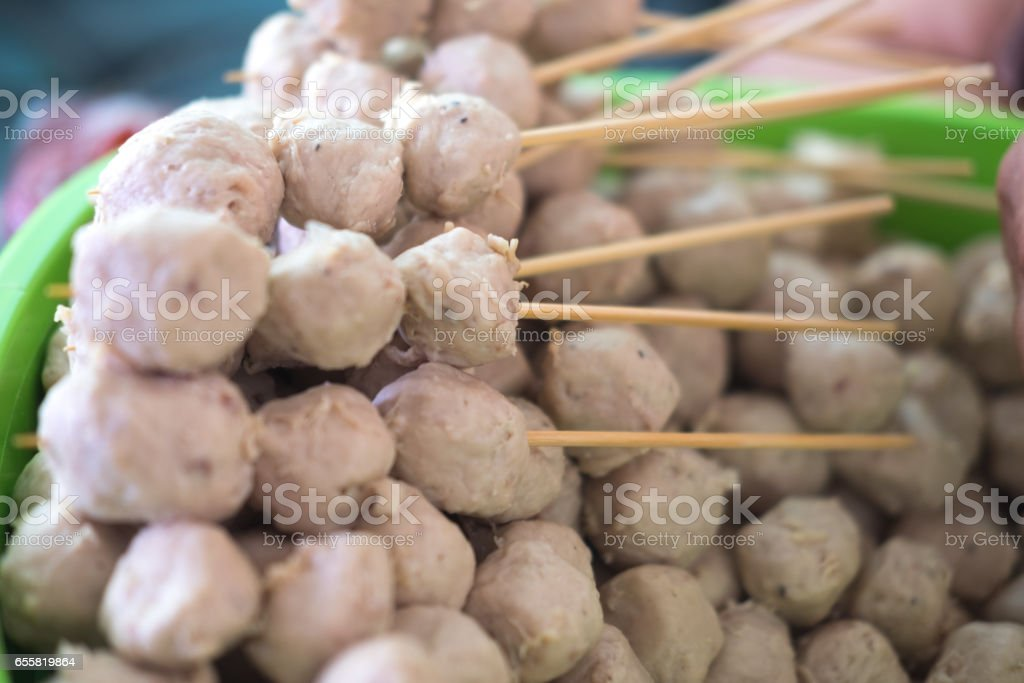 Many pork meat ball with for sale stock photo