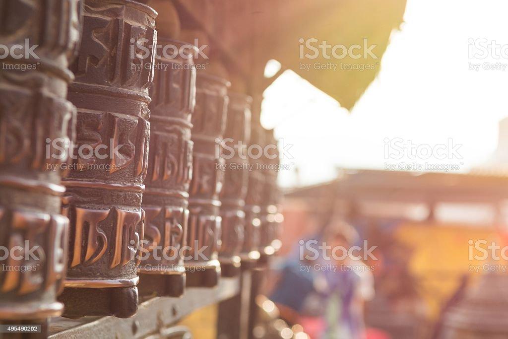 Many prayer wheels. stock photo