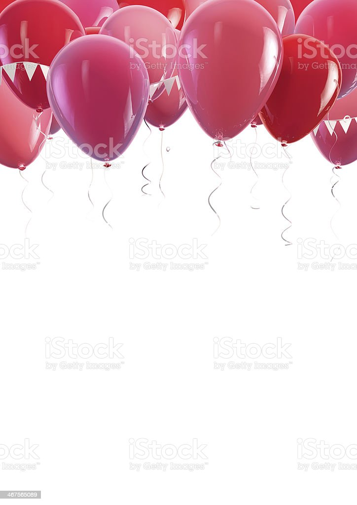 Many red and pink helium balloons floating to the top stock photo