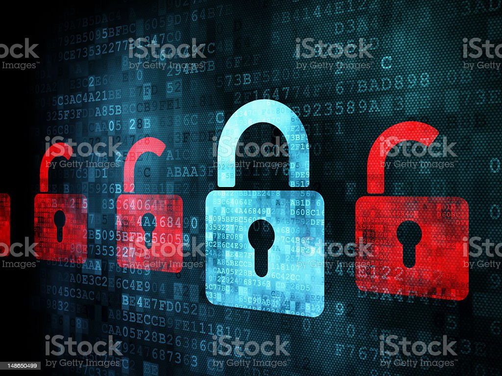Many red opened locks around one closed blue lock stock photo