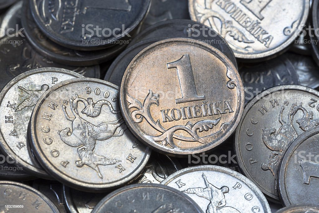 Many Russian coins one copeck royalty-free stock photo