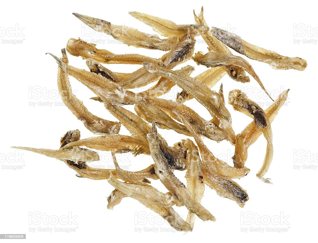 Many salted goby fishes stock photo