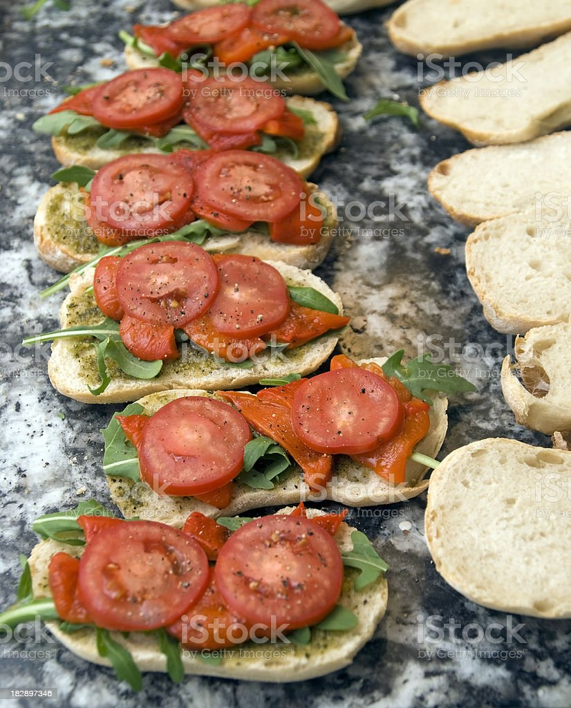 Many Sandwiches with tomatoe and rucola royalty-free stock photo