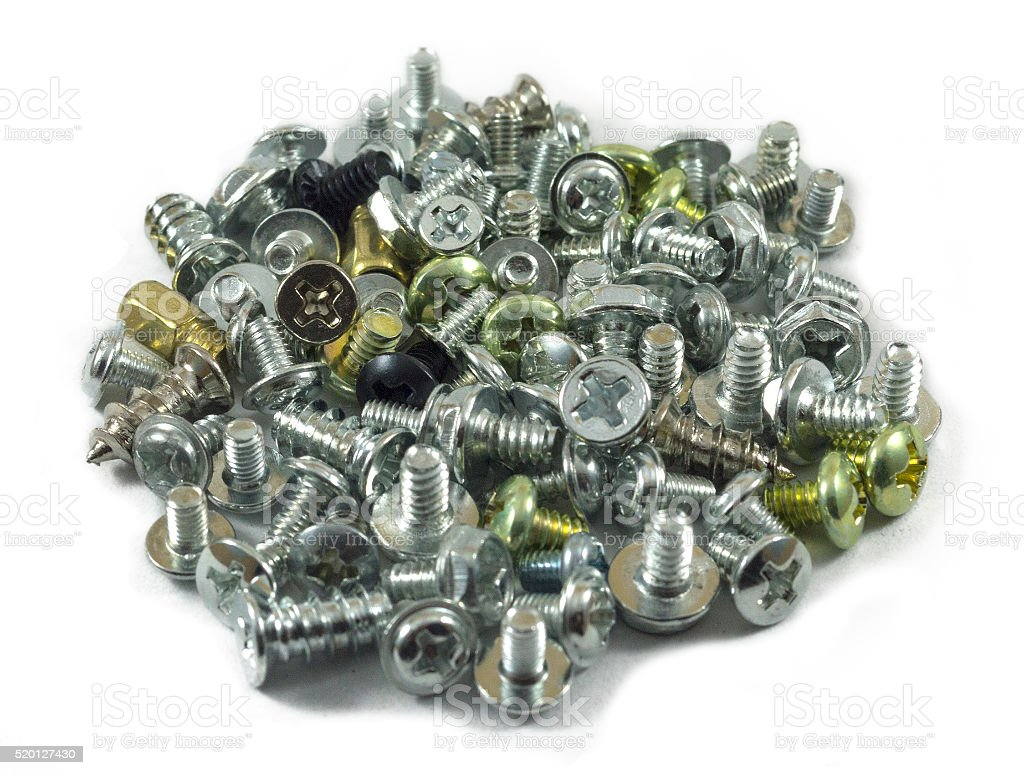 many screws on white background stock photo