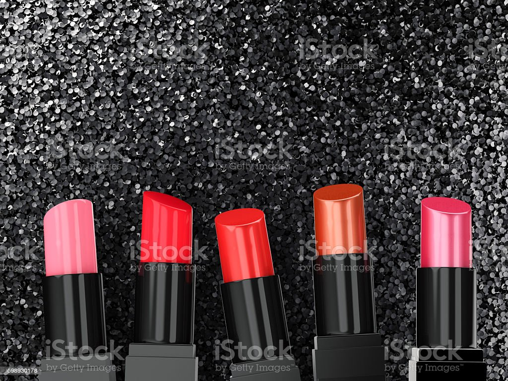 many shades of lipsticks stock photo