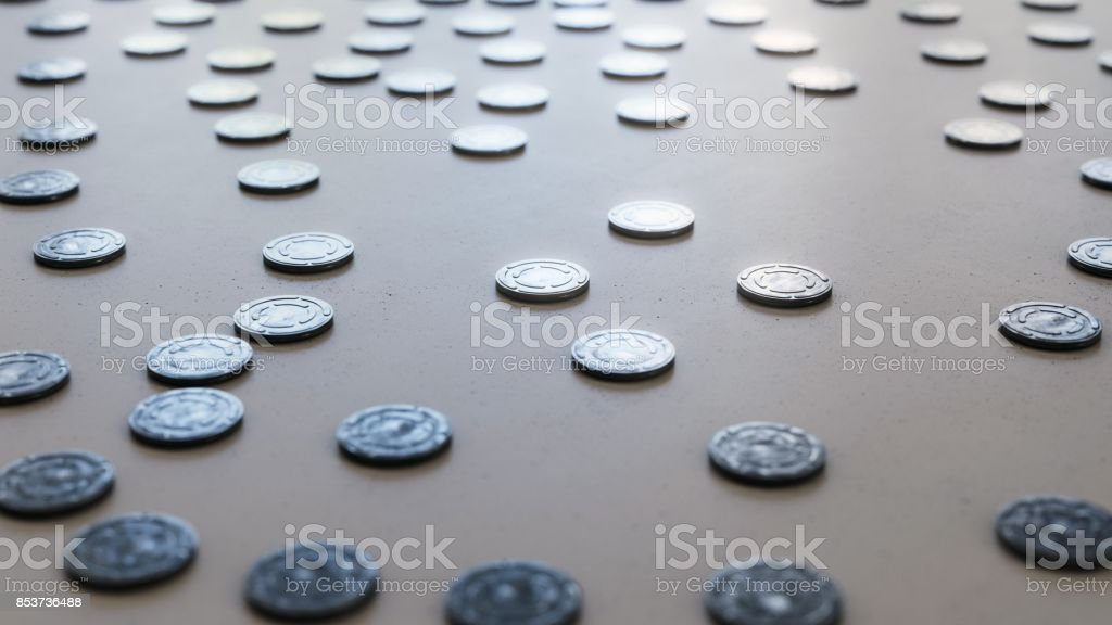 Many Shiny Film Reel Cans on Concrete stock photo