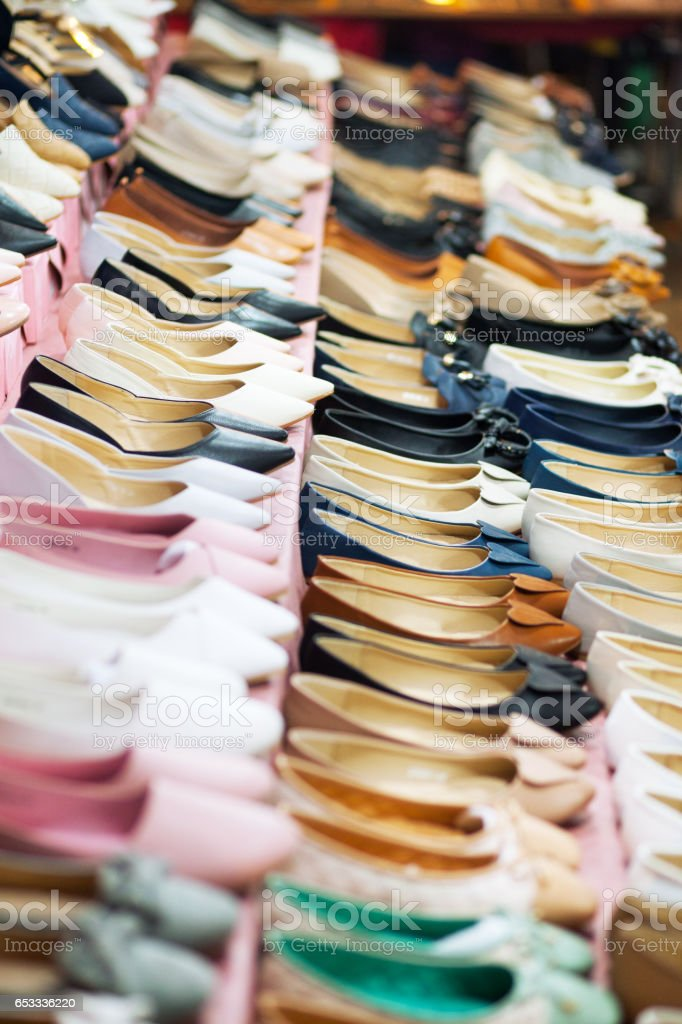 Many shoes for women stock photo