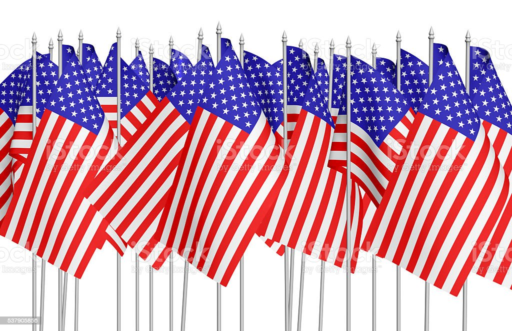 Many small american flags in row isolated on white stock photo