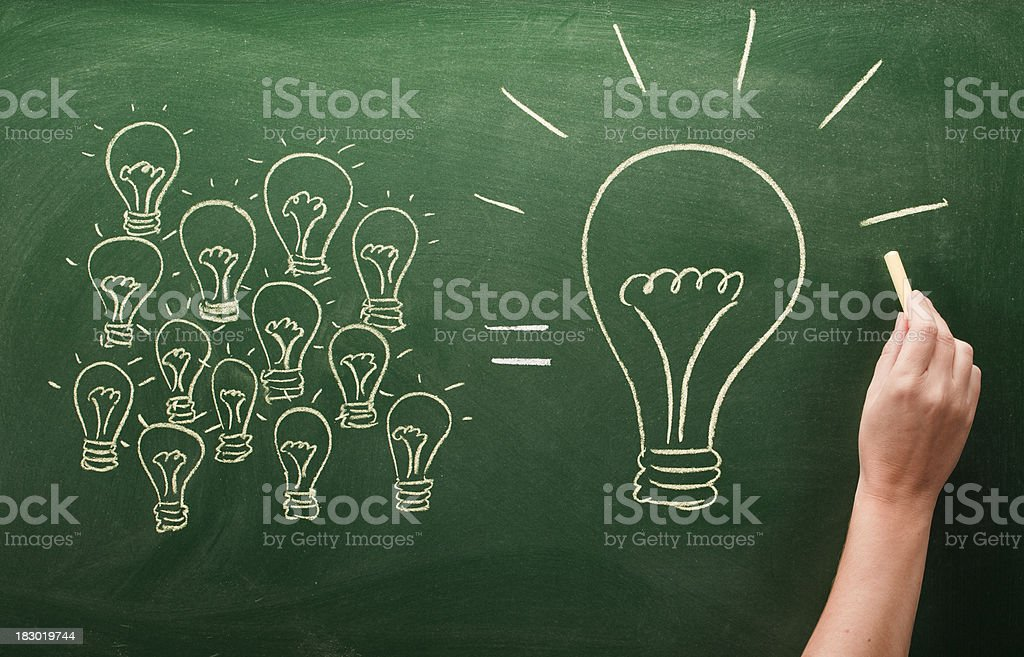 many small light bulbs equal big one royalty-free stock photo