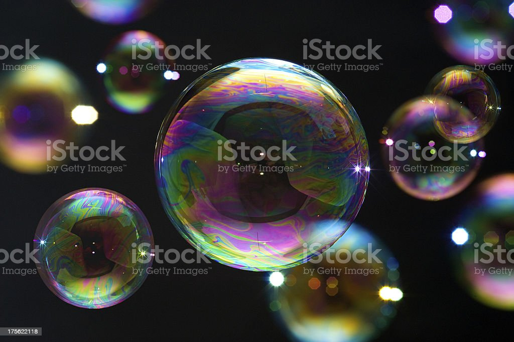 Many soap bubbles isolated on black. Extremely detailed. stock photo