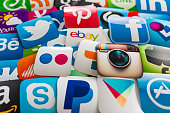 Many Social media icons printed on paper