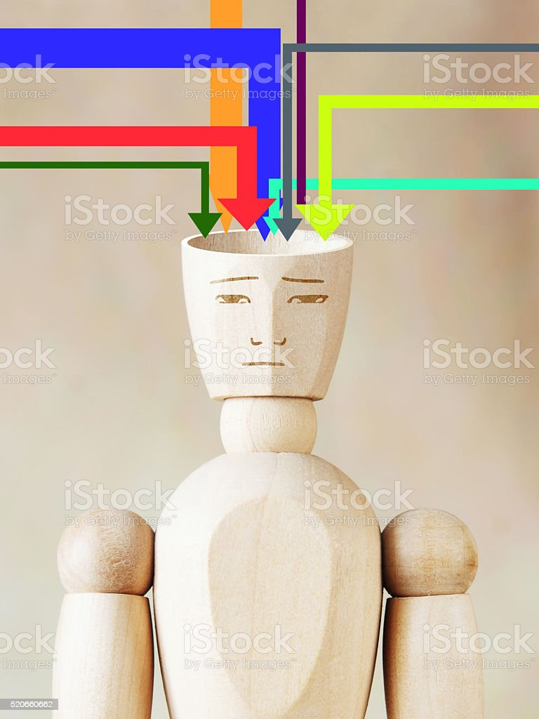 Many sources of information fill human head stock photo