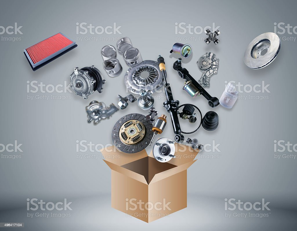 Many spare parts flying out of the box stock photo
