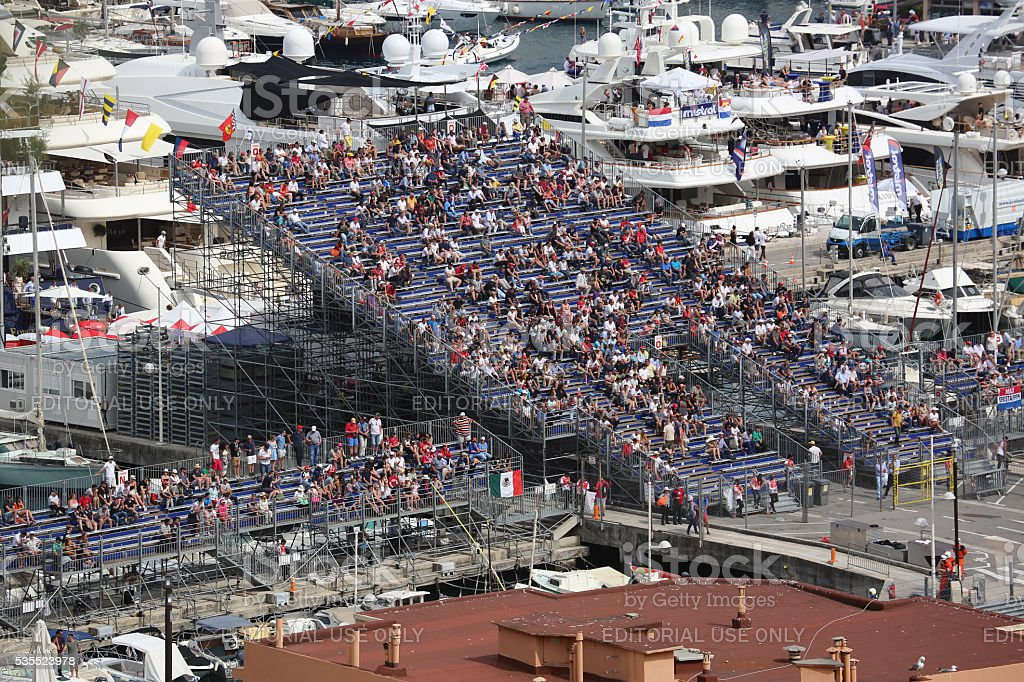 Many Spectators watch the F1 Monaco Grand Prix 2016 stock photo
