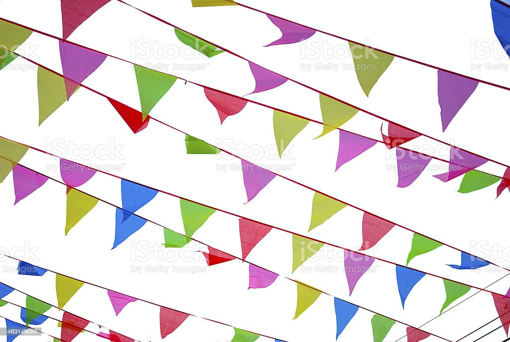 Many string flags on white background stock photo