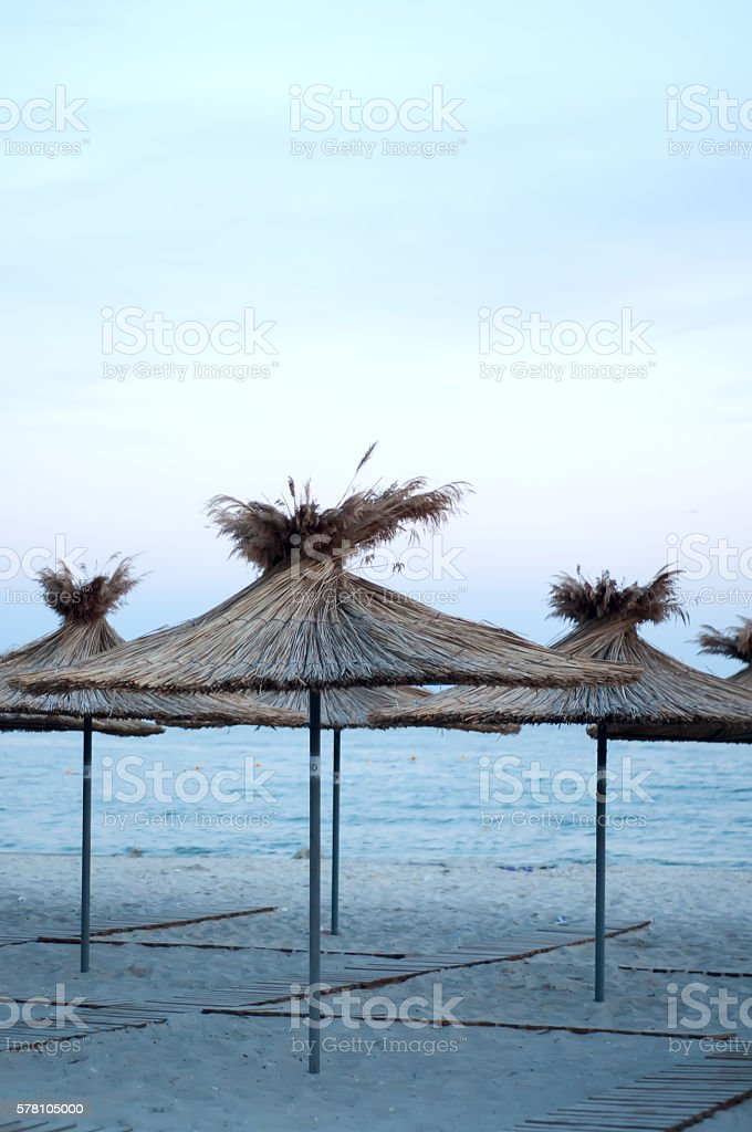 many sun umbrellas in the warm sandy beach stock photo