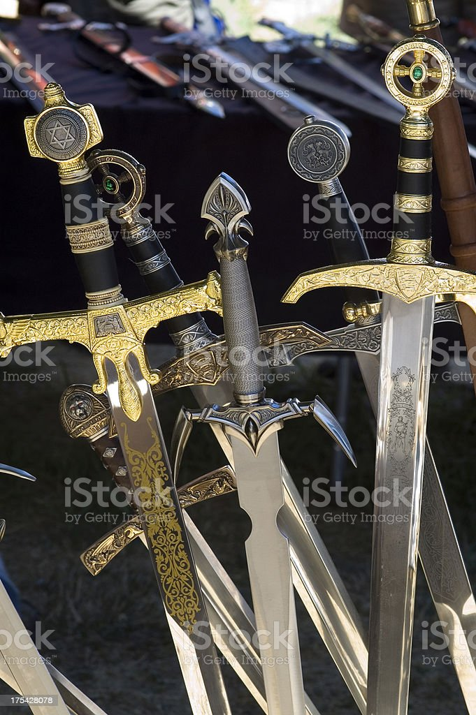 Many Swords on Display royalty-free stock photo