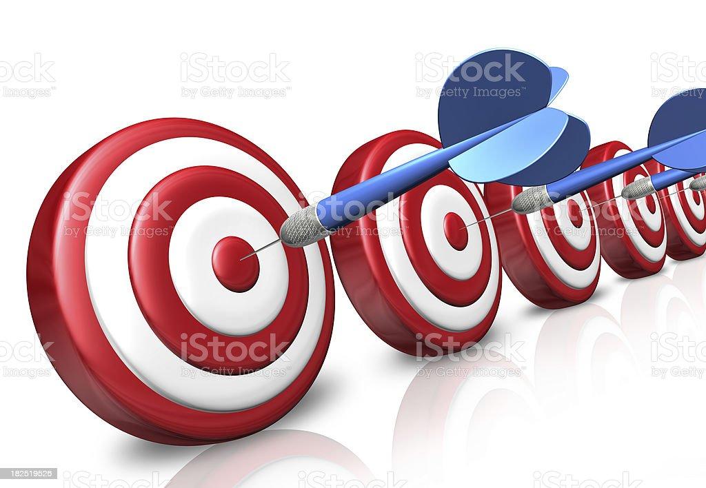 Many targets with bullseye darts royalty-free stock photo