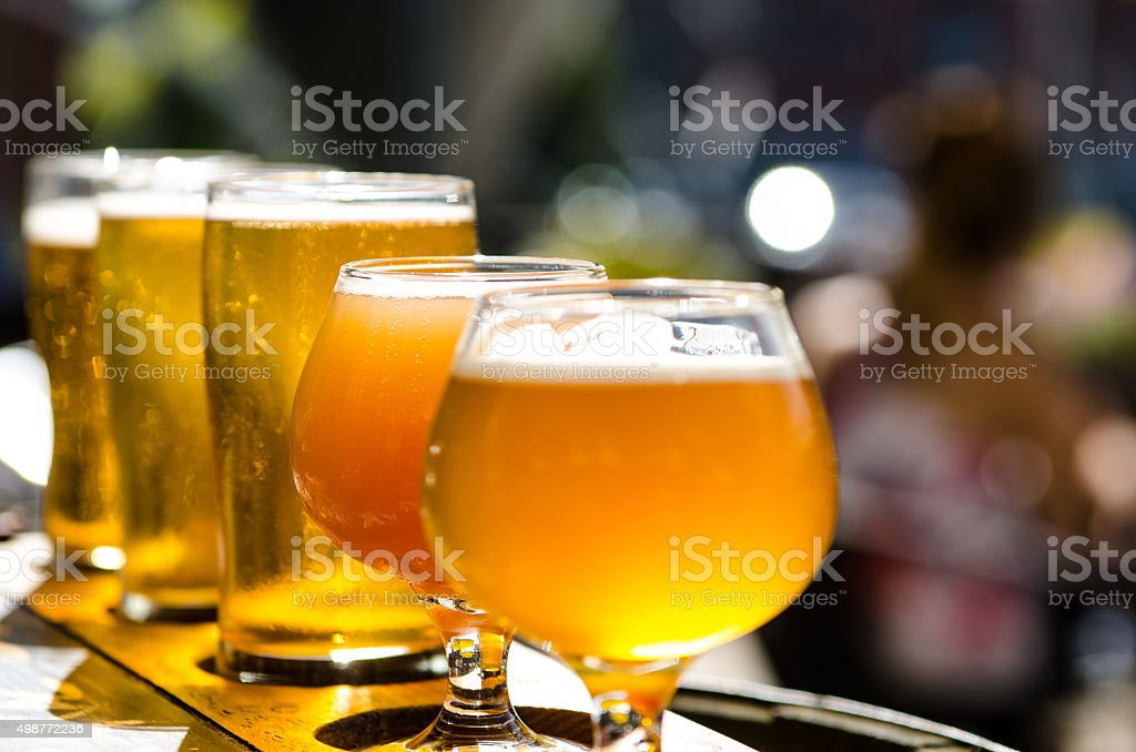Many tasty beers stock photo