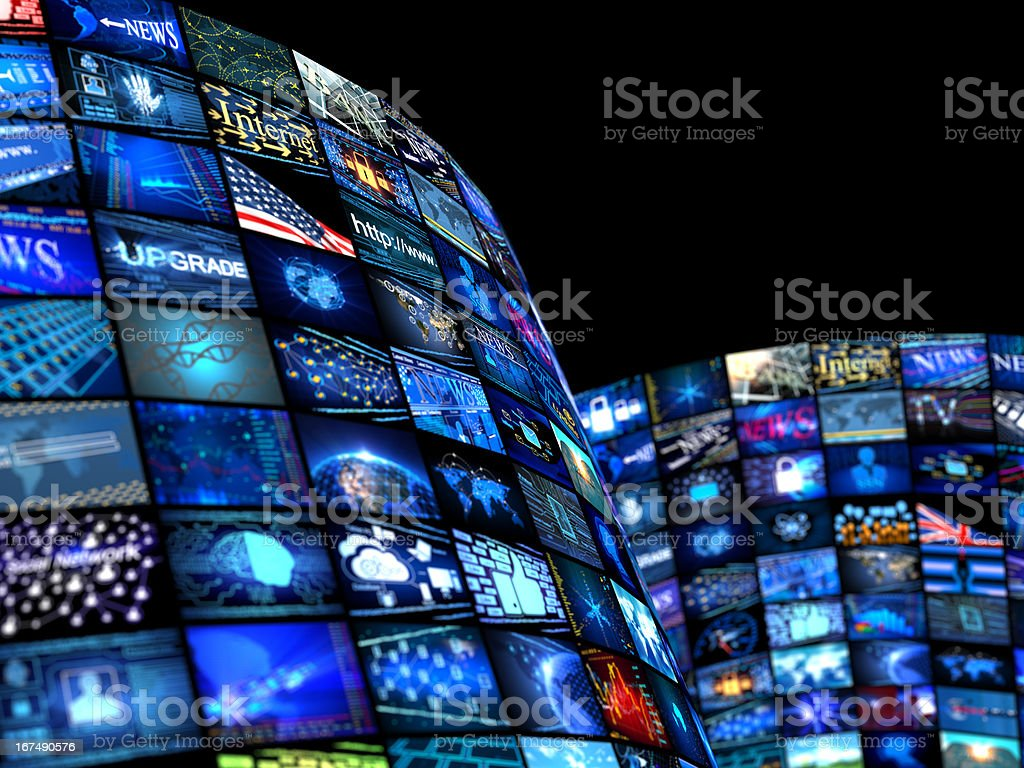 Many television screens with media news concept royalty-free stock photo