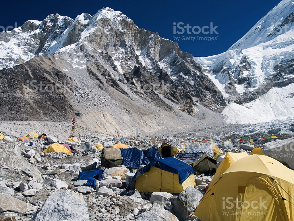 Many tents at the snowy mountain Everest base camp stock photo