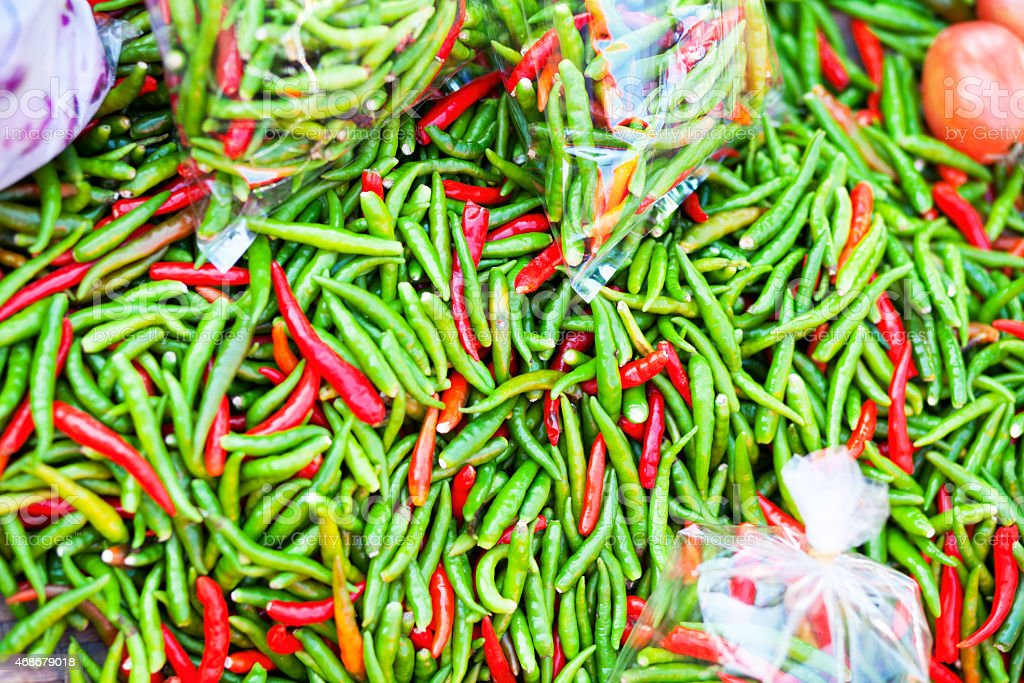 Many thai chilis on local market stock photo