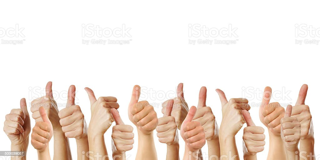 many thumbs up against white background stock photo